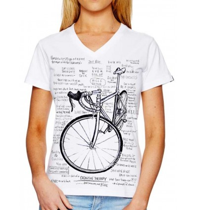 """Cycology Gear T-shirt """"Cognitive Therapy"""" (White womens)"""
