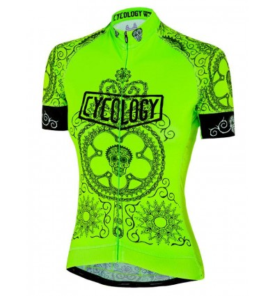 "Cycology Gear Damen Radtrikot ""Day of the Living"" (Lime)"
