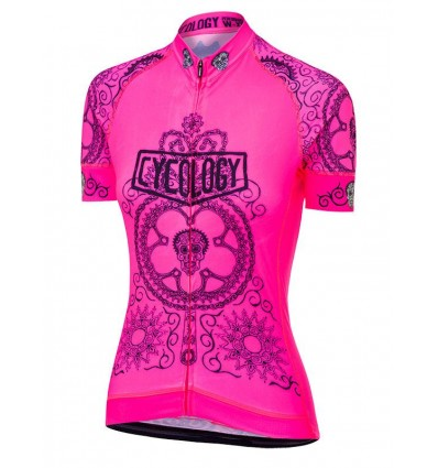 "Cycology Gear women's cycling Jersey ""Day of the Living"" (Lime)"